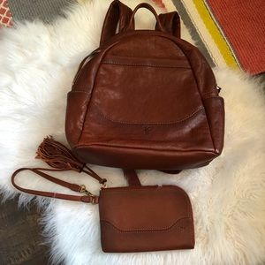 Frye brown leather backpack with wallet wristlet
